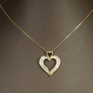 14KTT Gold Genuine Diamond Heart Pendant W/Chain